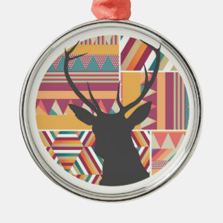 Circular Deer Silver-Colored Round Decoration
