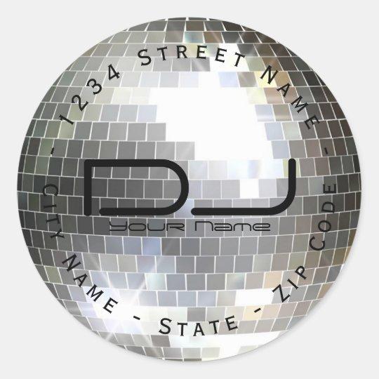 Circular Disco Ball Return Address Label
