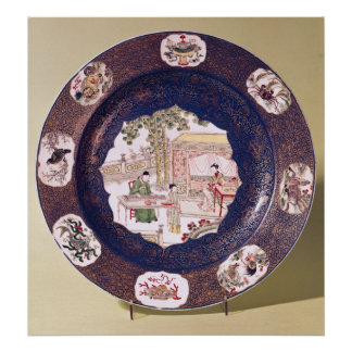 Circular dish with a musical scene poster