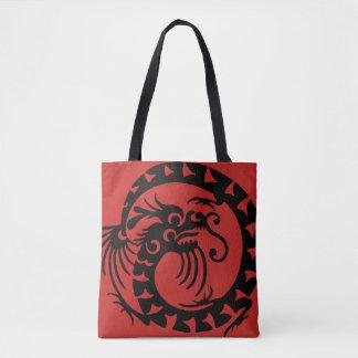Circular Dragon Silhouette Tote Bag