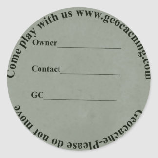 circular geocache label
