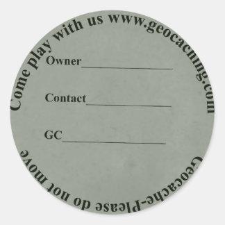 circular geocache label