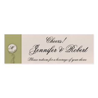 Circular Green and Creme Monogram Drink Tickets Pack Of Skinny Business Cards