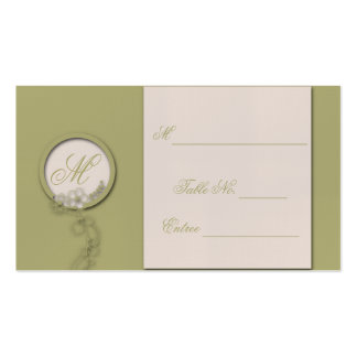Circular Green and Creme Monogram Place Cards Pack Of Standard Business Cards