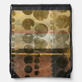 Circular Green Droplets Drawstring Bag
