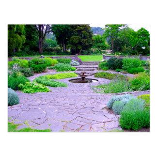 Circular Herb Garden with Fountain, Dunedin, NZ Postcard