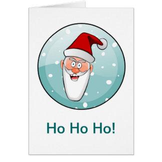 Circular Ho Ho Ho! Santa in Teal Card