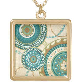 Circular Patterns Gold Plated Necklace