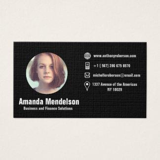 Circular photo frame and social media icons business card