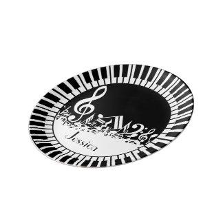 Circular Piano Keys and Jumbled Music Notes Porcelain Plate