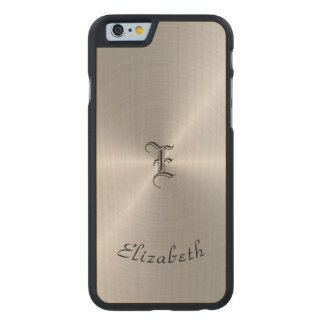 Circular Polished Metal Texture, Personalized Carved Maple iPhone 6 Case