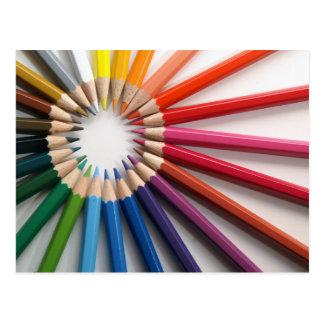 Circular Rainbow Of Colored Pencils Postcard