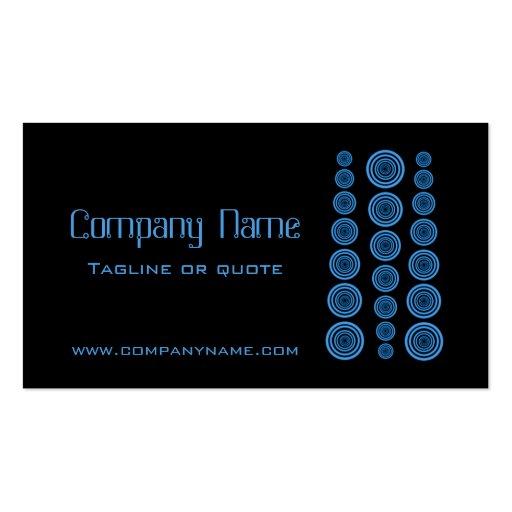 Circular Retro Business Card, Black and Blue