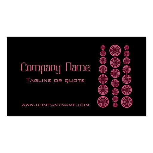 Circular Retro Business Card, Black and Fuchsia