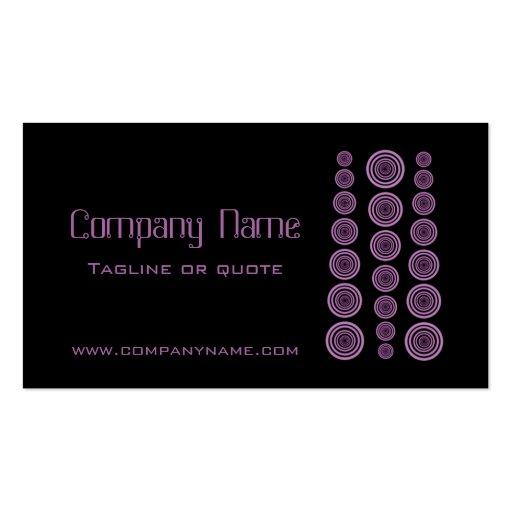 Circular Retro Business Card, Black and Lavender