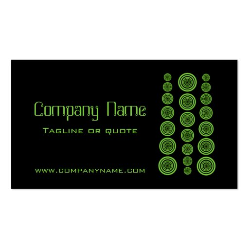 Circular Retro Business Card, Black and Lime Green
