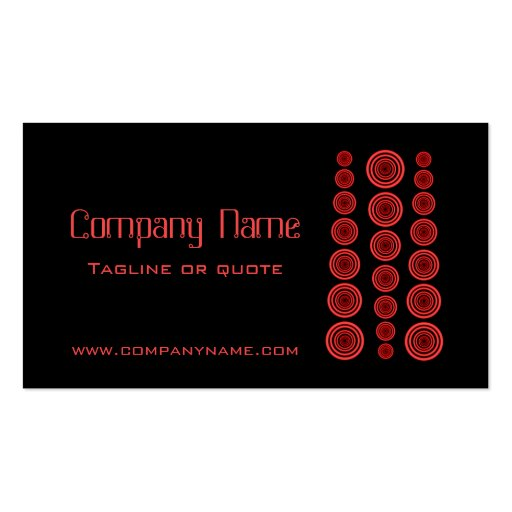 Circular Retro Business Card, Black and Red