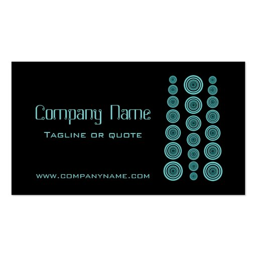 Circular Retro Business Card, Black and Turquoise