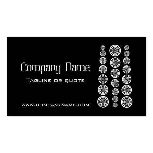 Circular Retro Business Card, Black and White