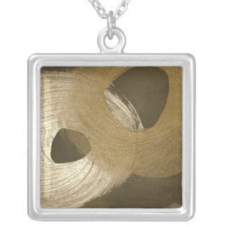 Circular Sandstorm in Tan and Dark Brown Silver Plated Necklace