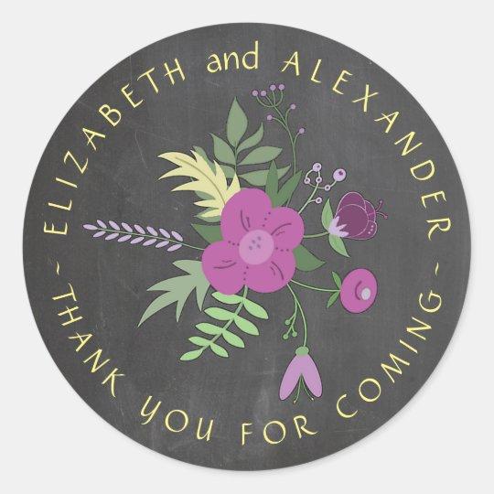 Circular Text Chalkboard Floral Wedding Thank You Classic