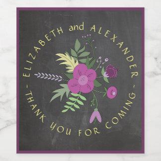 Circular Text Chalkboard Floral Wedding Wine Label