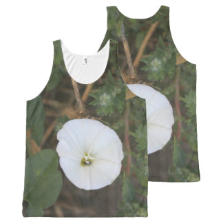Circular White Wildflower All-Over Print Tank Top