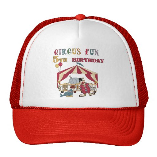 Circus 5th Birthday tshirts and Gifts Mesh Hats