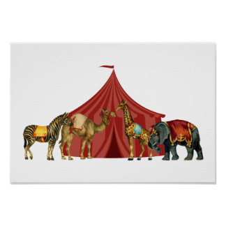 Circus Animals And Tent Poster