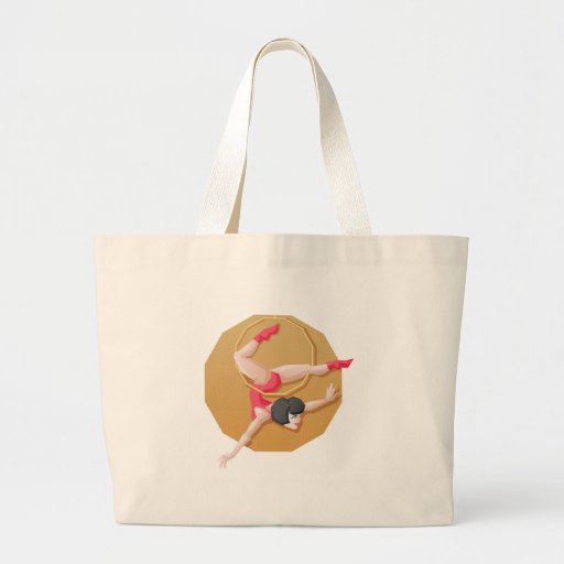 Circus artist young woman make show on aerial ring tote bags