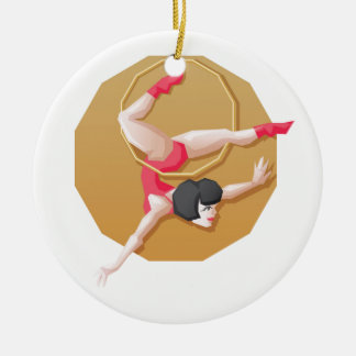 Circus artist young woman make show on aerial ring christmas ornaments