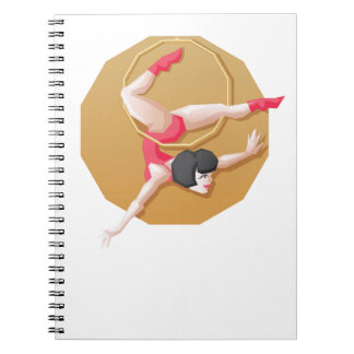 Circus artist young woman make show on aerial ring spiral note book