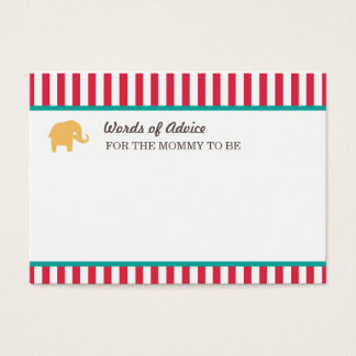Circus Baby Shower Mommy Advice Cards