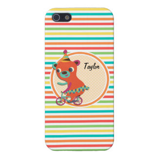 Circus Bear; Bright Rainbow Stripes Case For iPhone 5/5S