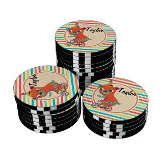 Circus Bear; Bright Rainbow Stripes Set Of Poker Chips