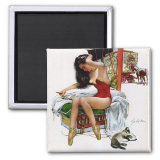 Circus Beauty Vintage Art Pin-Up Girl Magnet