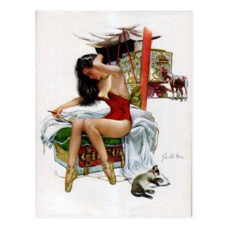 Circus Beauty Vintage Art Pin-Up Girl Postcard