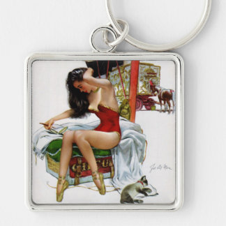 Circus Beauty Vintage Art Pin-Up Girl Silver-Colored Square Key Ring