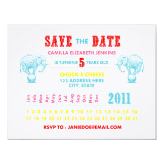 Circus Birthday 11 Cm X 14 Cm Invitation Card