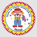 Circus Birthday Clown for Boys Round Sticker