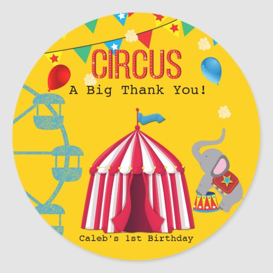 Circus Birthday Party Fun Yellow Colourful Classic Round