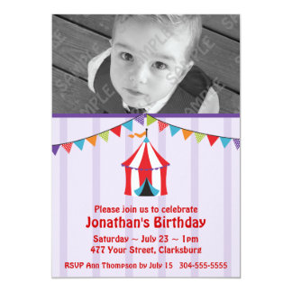 "Circus Birthday Party Photo Template 5"" X 7"" Invitation Card"