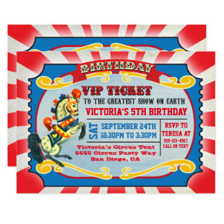 Circus Birthday Party VIP Ticket Card