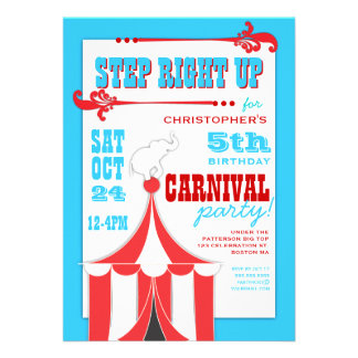 Circus Carnival Birthday Party Big Top  Invitation