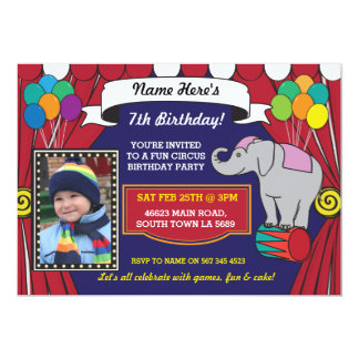 Circus Carnival Birthday Party Elephant Pic Invite