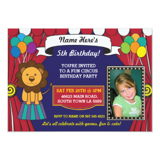 Circus Carnival Birthday Party Lion Photo Invite