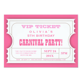 "Circus Carnival Birthday Party Ticket Invitation 5"" X 7"" Invitation Card"