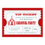 Circus Carnival Birthday Party Ticket Invitation 13cm X 18cm Invitation Card