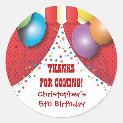 Circus Carnival Birthday Thank You Sticker