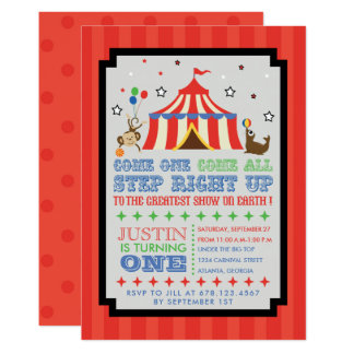 Circus Carnival Fun Birthday Party Invitation